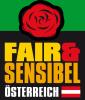 Quadratische Fläche. Im oberen Teil Grafik: Rote Rose auf grünem Grund. Darunter auf schwarzem Grund der Text: Fair & Sensibel Österreich in den Farben gelb, orange und weiß. Daneben die österreichische Flagge in Farbe.