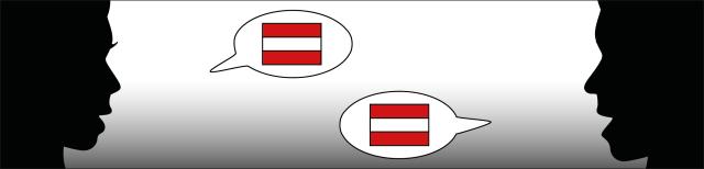 Grafik: Dargestellt sind die Silhouetten der Köpfe einer Frau und eines Mannes, die einander ansehen. Zwischen den Köpfen sind Sprechblasen dargestellt, welche die österreichische Flagge beinhalten.