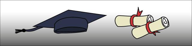 Grafik: Graduiertenkopfbedeckung in dunkelblauer Farbe und zwei gerollte Diplome mit roter Schleife.