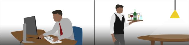 Grafik: Zwei Bilder. Ein Mann sitzt vor einem Computerbildschirm. Ein Kellner serviert Getränke.