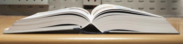Foto: Ein aufgeschlagenes Buch liegt auf einem Tisch.