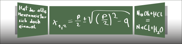 """Grafik: Dargestellt ist eine grüne Schultafel, deren Flügel geöffnet sind. Auf derTafel stehen der Beginn des Gedichts """"Der Zauberlehrling"""", eine mathematische und eine chemische Formel geschrieben."""