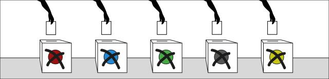 Grafik: Fünf Wahlurnen stehen nebeneinander. An der Vorderseite befindet sich je ein einziger farbiger Punkt in den Farben rot, blau, grün, grau und gelb, der von zwei schwarzen, überkreuzten Strichen überlagert wird. Über den Urnen befindet sich jeweils eine Hand, die einen Wahlzettel in die Urne steckt.