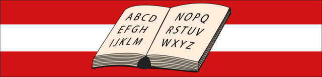 Grafik: Dargestellt ist ein aufgeschlagenes Buch. Der Hintergrund besteht aus drei Streifen in rot-weiß-rot.