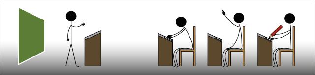 Grafik: Vor einer Tafel steht eine Lehrperson an einem Pult. Davor sitzen drei Menschen an Schultischen.