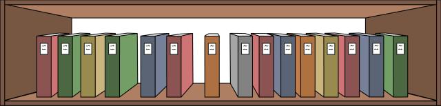 Grafik: Braunes, einreihiges Bücherregal. Darin stehen 15 Bücher nebeneinander in verschiedenen Farben.