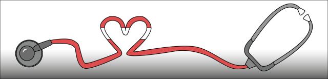 Grafik: Dargestellt ist ein Stethoskop. Der rote Verbindungsschlauch zwischen Ohrbügel und Bruststück ist mit einem Knick in Herzform versehen. In der Mitte des Knicks befinden sich weiße Streifen. Dadurch wird der Eindruck eines rot-weiß rot gestreiften Herzens vermittelt.