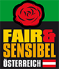A rectangular shape. In the upper part of the image is a red rose on a green background. Underneath it is a black background with the text: Fair & Sensibel Österreich in yellow, orange and white letters. Next to it the Austrian flag.