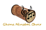 "Recumbent drum in brown colours. In front of it is a clef with four notes in black colour. Underneath it is the text ""Ghana Minstrel Choir"" in golden colour."
