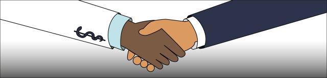 Grafik: Dargestellt sind der Unterarm  eines Arztes und der Unterarm einer Patientin. Die Personen geben einander die Hand.
