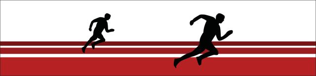 Grafik: Auf einer stilisierten Laufbahn in roter Farbe mit weißen Begrenzungsstreifen sind zwei laufende Gestalten in schwarzer Farbe dargestellt.