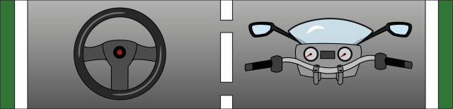 Grafik: Dargestellt sind das Lenkrad eines Autos und daneben der Lenker eines Motorrades.