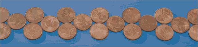 Grafik: Mehrere Zwei-Eurocent-Münzen liegen aufgereiht auf einem blauen Tuch.