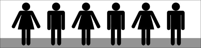 Grafik: Stilisierte Darstellungen eines stehenden Frauenkörpers und eines stehenden Männerkörpers in schwarzer Farbe. Die Figuren stehen in einer Reihe nebeneinander, auf die weibliche Figur folgt die männliche Figur. Insgesamt sind drei weibliche und drei männliche Figuren dargestellt.