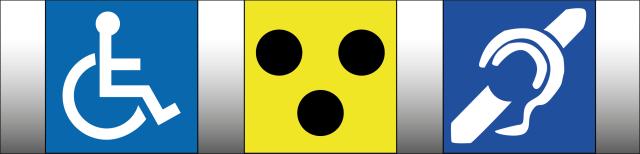 Grafik: Drei nebeneinander stehende quadratische Bilder. Das erste Bild stellt einen stilisierten Rohstuhlfahrer dar. Das zweite Bild zeigt drei schwarze Punkte auf gelbem Hintergrund. Das dritte Bild zeigt ein vereinfacht dargestelltes Ohr durch das ein schräger Strich verläuft.