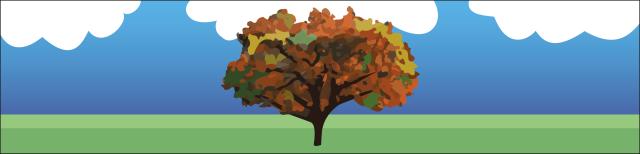 Grafik: Ein Baum in brauner Herbstbelaubung steht auf einer grünen Wiese. Im Hintergrund befinden sich weiße Wolken vor blauem Himmel.