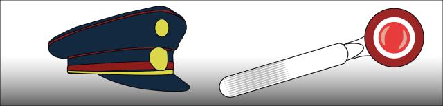 Grafik: Links ist eine blaue Polizeikappe mit rotem Band und goldfarbenen Applikationen dargestellt, rechts davon ist eine weiße Winkerkelle mit roter Lampe, die weiß und rot eingefasst ist, dargestellt.