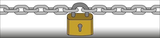 Grafik: Eine gespannte silberfarbene Kette wird von einem goldfarbenen Vorhängeschloss zusammengehalten.