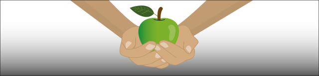 Grafik: Die Hände eines Menschen liegen schalenförmig aufeinander. In diesem Hohlraum liegt ein grüner Apfel.