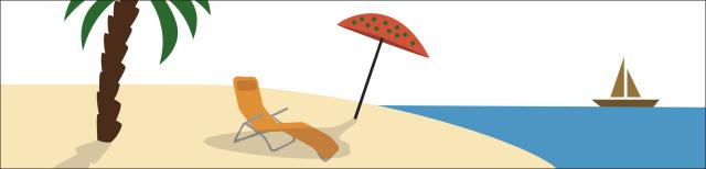 Grafik: Insel mit Palme, Liegestuhl und Sonnenschirm. Im Hintergrund fährt ein Segelschiff über das Meer.