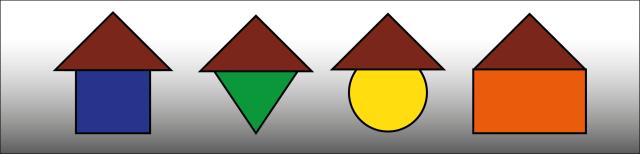 """Grafik: Vier geometrische Figuren sind dargestellt. Ein blaues Quadrat, ein grünes Dreieck, ein gelber Kreis und ein orangefarbenes Rechteck. Die Figuren sind an der Oberseite mit einem """"Dach"""" versehen, das aus einem braunen Dreieck besteht."""