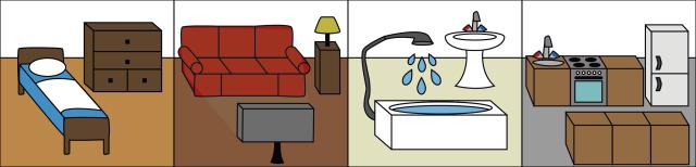 Grafik; Nebeneinander sind Einrichtungsgegenstände eines Schlafzimmers, eines Wohnzimmers, eines Badezimmers und einer Küche dargestellt.